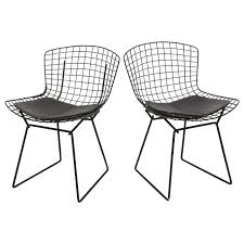 bertoia wire chair. Bertoia Wire Chairs With Black Leather Knoll Cushions, 1960s, USA For Sale Chair I