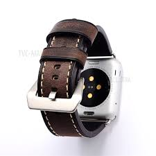retro style genuine leather smart watch band for apple watch series 4 44mm series 3