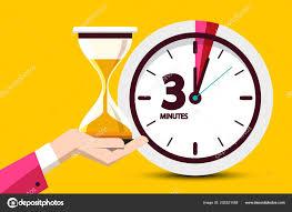 Three Minutes Countdown Design Yellow Background Vector Flat Design