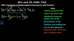 simplifying algebraic expressions with fractions 7th grade math you
