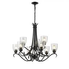 golden lighting 8001 9 blk sd parrish 9 light chandelier in black with seeded glass
