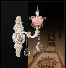fancy murano glass wall light pink purple wall sconce with crystal pendant hotel project wall mount