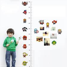 Us 2 97 7 Off 3d Cartoon Movie Avengers Height Measure Chart Wall Stickers For Kids Rooms Decals Art For Nursery Home Decoration Poster In Wall