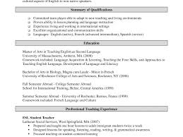 Esl Resume Sample Esl Teacher Resume How To Write A Killer Resume For Ideas Of 22