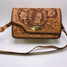 hand tooled leather purse handbag cross horse roses western vintage