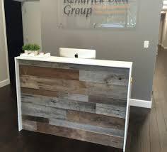 reclaimed wood office. Kendrick Law Group\u0027s Reception Desk. In Custom Projects. Orlando Reclaimed Lumber Wood Office