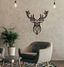 metal wall art deer geometric animal