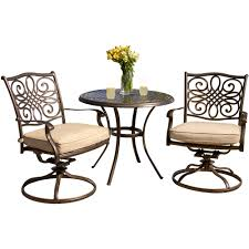 hanover traditions3pcsw traditions series 3 piece patio dining set 2 swivel chairs a 32 round café table alumnicast frames