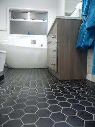 black hexagon bathroom floor tile design grey