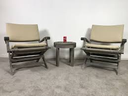 summit furniture pair of teak outdoor folding armchairs with cushions and round side table photo