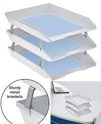 desk office file document paper. 3 Tier Stackable Letter Tray Desk Office File Document Paper Holder Organizer US E