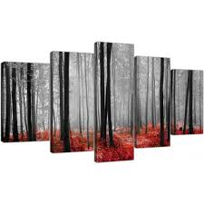 black white red grey forest woodland trees xl canvas set of 5 160cm 5236 on red white wall art with extra large canvas prints of red forest woodland trees in black white