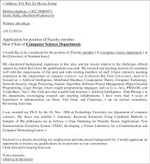 Computer Science Cover Letter Faculty Member Position Cover Letter Generated By The System