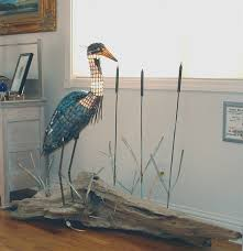 2003 heron a stained glass lamp sculpture