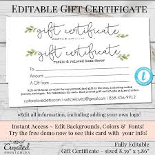 Printable Gift Certificates Templates Free Custom Editable Gift Certificate Voucher Printable Gift Cert DIY Etsy