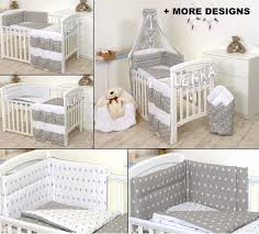 grey white stars baby boy girl bedding set cot or cot bed size