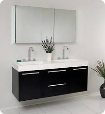 gray double sink vanity. opulento 54 1/4-inch w double sink vanity in black finish with medicine cabinet gray d
