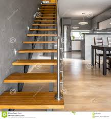 Simple Wood Stairs Design Wooden Stairs In Modern Villa Stock Photo Image Of Railing