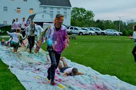 paint slip and slide color run powder slip and slide