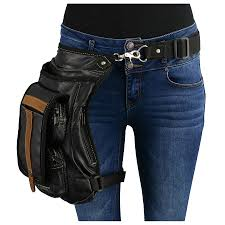 conceal carry black tan leather thigh bag w waist belt