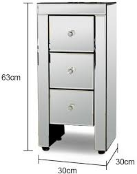 mirrored bedside table. narrow mirrored bedside table 3 drawers image 2