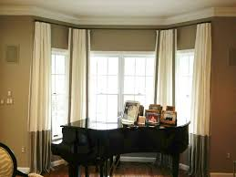 Living Room Bay Window Living Room Bay Window With Curtains Featured Black Rods Good