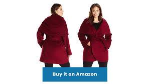 t tahari red wool blend plus size wrap coat