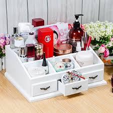 white makeup holder white wooden cosmetic makeup organizer beauty vanity desktop 3 drawers