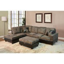 undefined walnut microfiber and faux leather left chaise sectional with storage ottoman