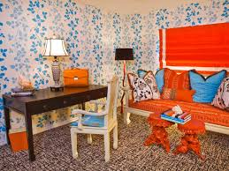 wallpapered office home design. Beautiful Home Elegant Blue Floral Wallpaper Design Intended Wallpapered Office Home