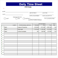 Free 10 Sample Daily Timesheet Templates In Google Docs