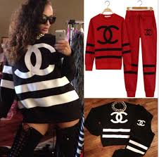 chanel tracksuit. sweater chanel inspired cc tracksuit red black