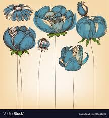 Floral Background Cute Blue Flowers Design