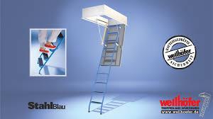 Die brüstungsgeländer brüstungsgeländer sind für alle treppen gegen zusätzliche berechnung erhältlich. Bodentreppen Wellhofer Bodentreppe Stahlblau