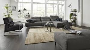 Interliving Sofa Serie 4150 Eckkombination Dunkelgraues Flachgewebe 635 80 Verchromter Metallfuß Schenkelmaß Ca 29