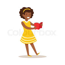 in yellow dress who loves to read ilration with kid enjoying reading an open book ager bookworm cartoon vector character smiling and enjoying