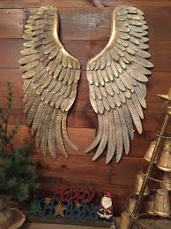 details about metal angel wings hanging wall decor rustic distressed vintage gold set