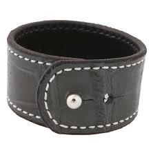 croc embossed leather cuff