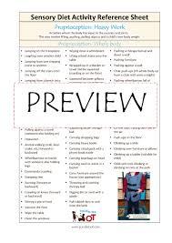 Refference Sheet Sensory Diet Activity Reference Sheet