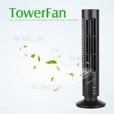 mini desktop usb tower fan bladeless no leaf air conditioner cooling desk fan black