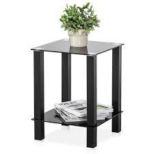 glass sofa side tables storage shelf