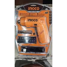 Máy bắn vít cầm tay INGCO CSDLI0402 kèm 10 mũi siết vít 25mm, 1 mũi từ, 1  cục sạc. Máy siết vít mini dùng pin Lithium 4V