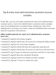 Entry Level Administrative Assistant Resume Sample Top224entryleveladministrativeassistantresumesamples224lva224app622492thumbnail24jpgcb=224243224792326 15