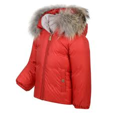 moschino baby girls red padded jacket with detachable fur hood trim