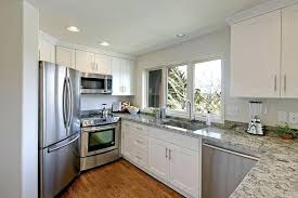white shaker kitchen cabinets with granite countertops. White Shaker Cabinets Clean Kitchen Lowes . With Granite Countertops A