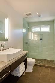 glass subway tile shower bathroom contemporary with glass subway tile shower
