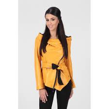 women s yellow asymmetrical real leather jacket