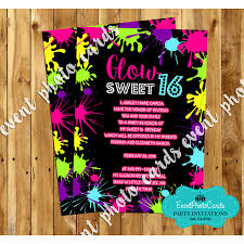 neon glow sweet six invitations b