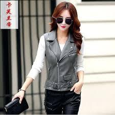 plus size leather vest motorcycle female fashion sleeveless jacket turn collar pockets big vests