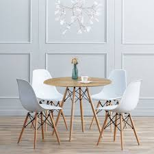 80cm round dining table office room furniture eiffel retro style wooden legs oak